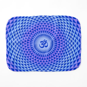 Purple Blue Lotus flower meditation wheel OM Burp Cloth