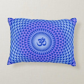 Purple Blue Lotus flower meditation wheel OM Decorative Pillow