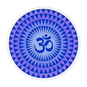 Purple Blue Lotus flower meditation wheel OM Edible Frosting Rounds