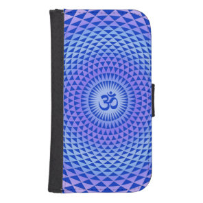 Purple Blue Lotus flower meditation wheel OM Galaxy S4 Wallet Case