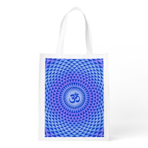 Purple Blue Lotus flower meditation wheel OM Grocery Bag