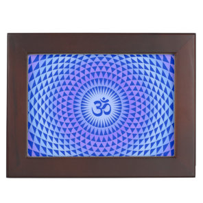 Purple Blue Lotus flower meditation wheel OM Keepsake Box