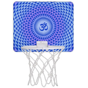 Purple Blue Lotus flower meditation wheel OM Mini Basketball Hoop