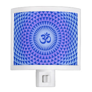 Purple Blue Lotus flower meditation wheel OM Night Light