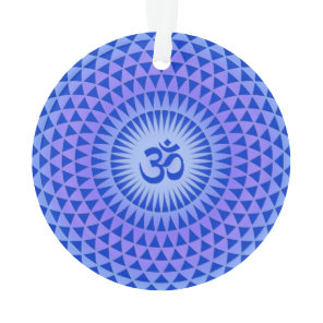 Purple Blue Lotus flower meditation wheel OM Ornament