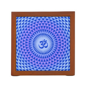 Purple Blue Lotus flower meditation wheel OM Pencil Holder
