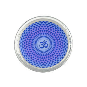 Purple Blue Lotus flower meditation wheel OM Photo Rings