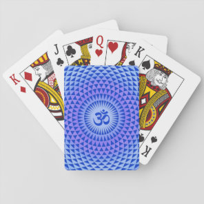Purple Blue Lotus flower meditation wheel OM Playing Cards