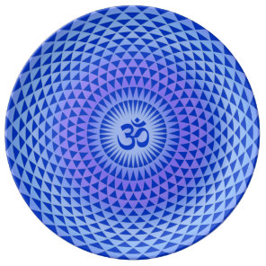 Purple Blue Lotus flower meditation wheel OM Porcelain Plate