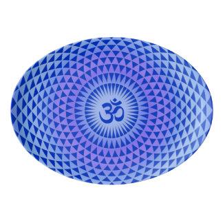 Purple Blue Lotus flower meditation wheel OM Porcelain Serving Platter