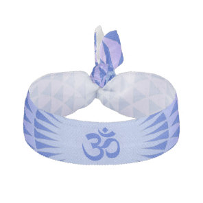 Purple Blue Lotus flower meditation wheel OM Ribbon Hair Tie