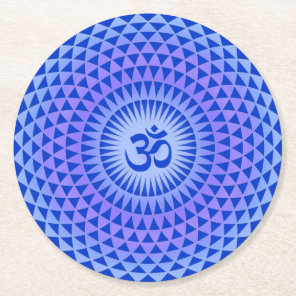 Purple Blue Lotus flower meditation wheel OM Round Paper Coaster