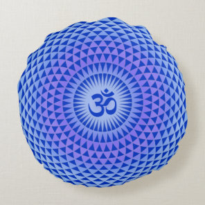 Purple Blue Lotus flower meditation wheel OM Round Pillow