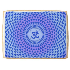 Purple Blue Lotus flower meditation wheel OM Shortbread Cookie