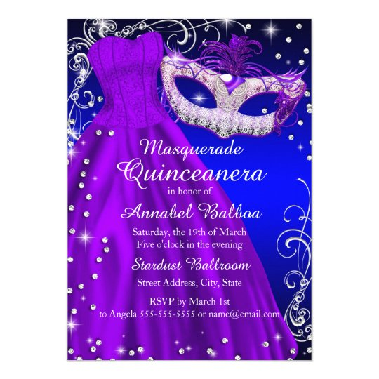 Purple Blue Mask & Dress Masquerade Quinceanera Invitation