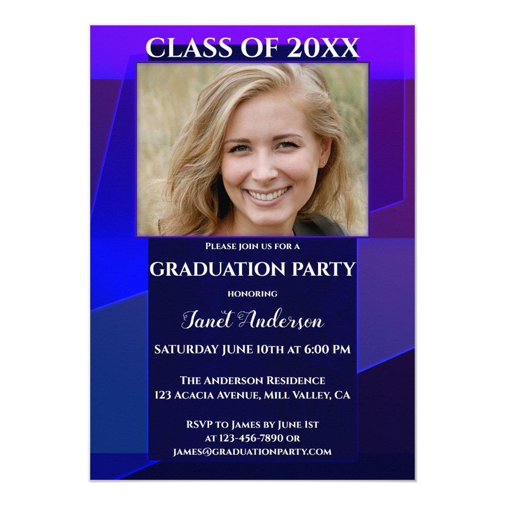 Purple Blue Neon Geometric Photo Graduation Invitation