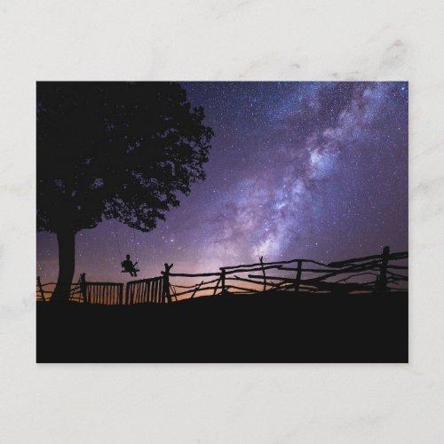 Purple Blue Night Sky Space Universe Postcard