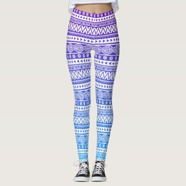 Aztec Themed Purple Blue Ombre Aztec Chevron Tribal Leggings