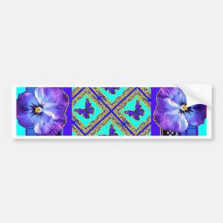 Purple-Blue Pansy, Butterfly gifts by Sharles Bumper Sticker