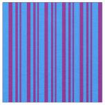 [ Thumbnail: Purple & Blue Pattern of Stripes Fabric ]