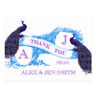 Purple, Blue Peacock Wedding Thank You Postcard