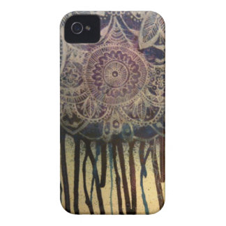 Purple/Blue Pen and Ink Illustrated iPhone4 Case