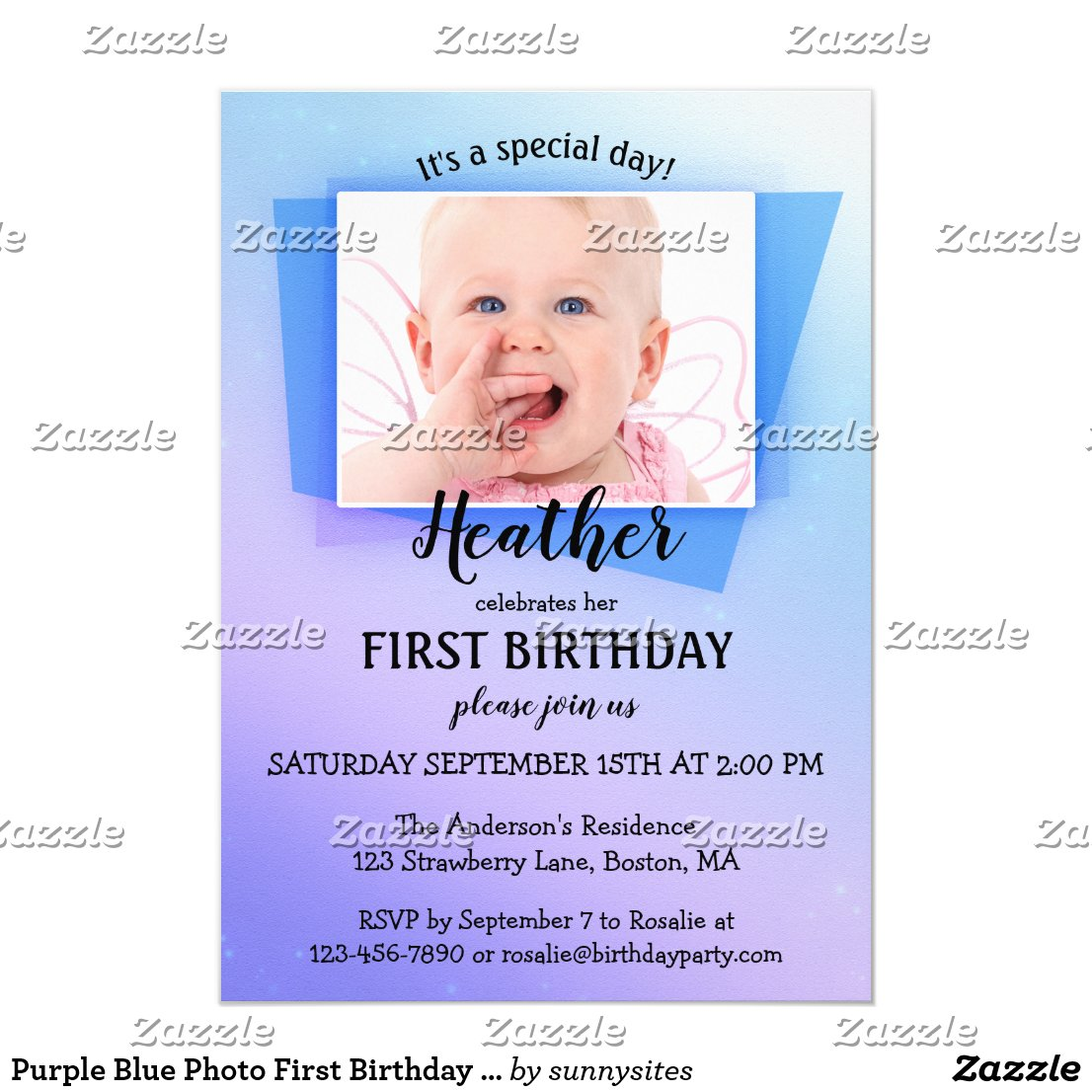 Purple Blue Photo First Birthday Party Invitation