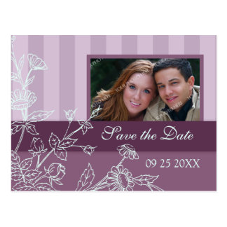 Purple Blue Photo Save the Date Wedding Postcards