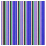 [ Thumbnail: Purple, Blue, Pink, Black, and Sea Green Stripes Fabric ]