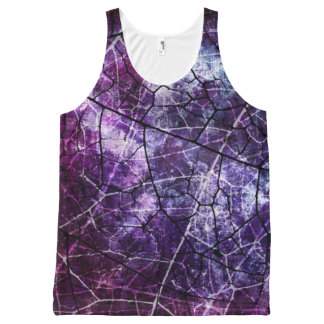 Purple Blue Pink Crackle Lacquer Grunge Texture All-Over Print Tank Top
