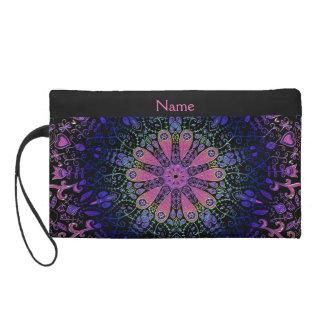 Purple Blue Pink Floral Lace Mandala Wristlet Purse