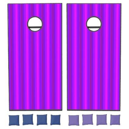 Purple Blue Pink Magenta Stripe Cornhole Set