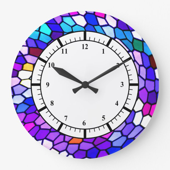 Purple Blue Pink Mosaic Tile Pattern Wall Clock