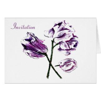 purple blue pink pea GARADEN PARTY INVITATION Greeting Card