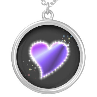 purple blue pink rainbow heart with stars silver plated necklace
