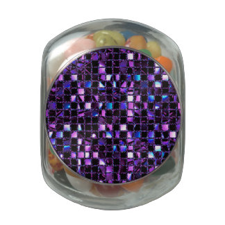 Purple Blue Pink Sequin Effect Glass Candy Jars