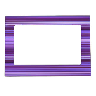 Purple Blue Pink Striped Pattern Magnetic Picture Frame