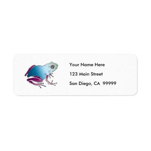 Purple & Blue Poison Dart Frog Return Address Label