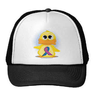 Purple & Blue Ribbon Duck Trucker Hat