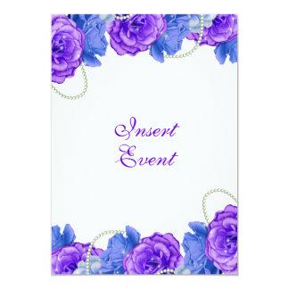 Purple blue rose birthday wedding card