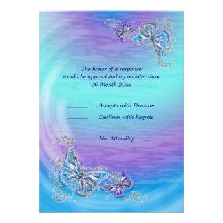 Purple blue rsvp birthday engagement wedding invite