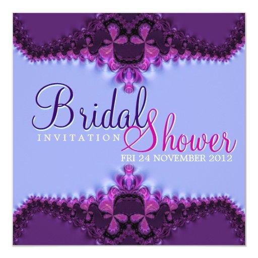 Purple Blue Satin Lace Bridal Shower Invitation