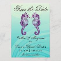 Purple & Blue Seahorse Save the Date