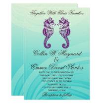 Purple & Blue Seahorse Wedding Invites