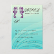 Purple & Blue Seahorse Wedding RSVP Cards
