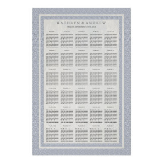 Purple Blue Seigaiha Wedding/Event Seating Chart