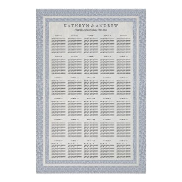 Beach Themed Purple Blue Seigaiha Wedding/Event Seating Chart