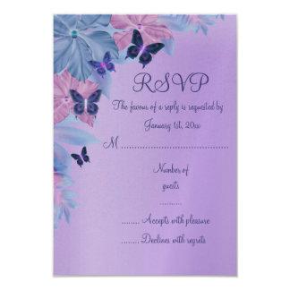 Purple & Blue Shimmer Butterfly Sweet 16 RSVP Card Custom Announcement