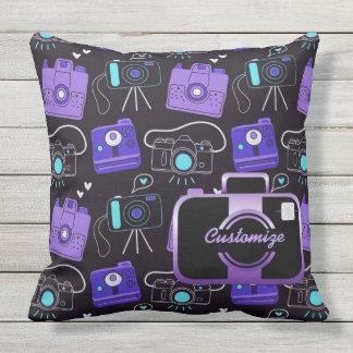 Purple & Blue Shutter Bug Retro Cameras Pillow