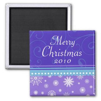 Purple Blue Snowflakes Merry Christmas Magnet
